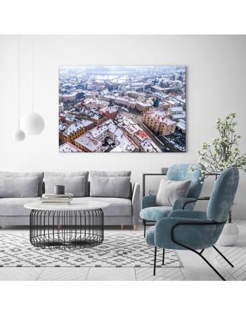 Obraz na płótnie fotoobraz fedkolor Lublin Widok na Stare Miasto zimą