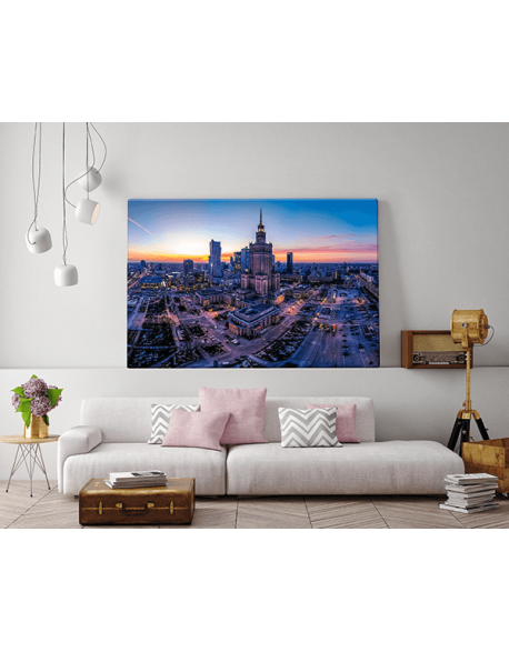 Obraz na płótnie fotoobraz fedkolor Warszawa Palac Kultury o zachodzie