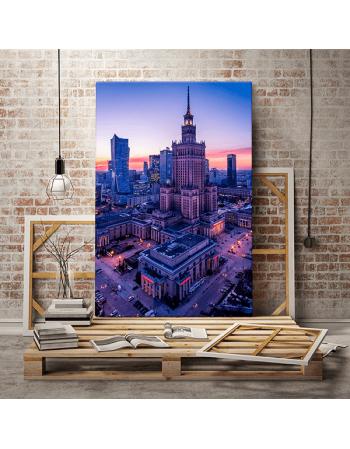 Warszawa - Pałac Kultury o zachodzie 2