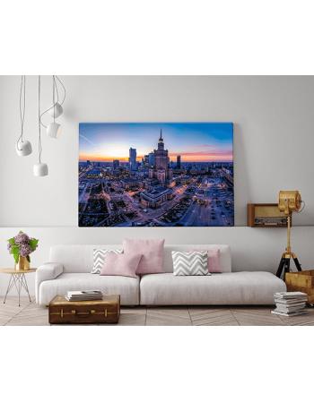 Warszawa - Panorama z Pałacem Kultury o zachodzie