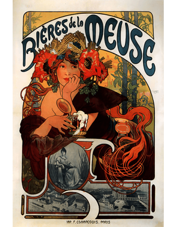 Reprodukcje obrazów Alfons Mucha Beer from the Meuse