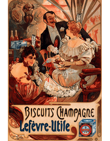Reprodukcje obrazów Alfons Mucha Biscuits Champagne Lefevre Utile