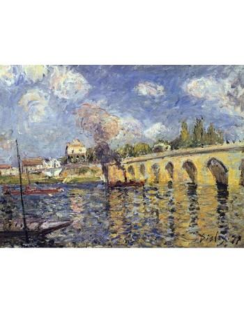 Reprodukcje obrazów River steamboat and bridge - Alfred Sisley