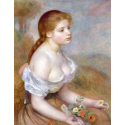 Reprodukcje obrazów A Young Girl with Daisies - Auguste Renoir