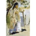 Reprodukcje obrazów Woman by a Fence - Auguste Renoir