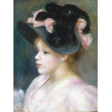 Reprodukcje obrazów Young Girl in a Pink-and-Black Hat - Auguste Renoir