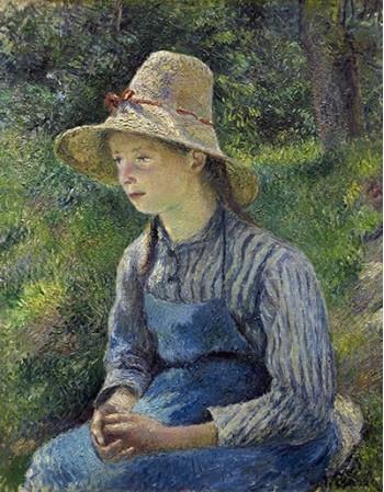 Reprodukcje obrazów Peasant Girl with a Straw Hat - Camille Pissarro