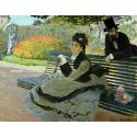 Reprodukcje obrazów Camille Monet on a Garden Bench - Claude Monet