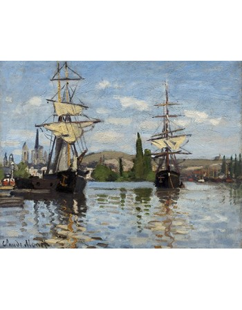 Reprodukcje obrazów Ships Riding on the Seine at Rouen - Claude Monet