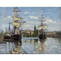 Reprodukcje obrazów Ships Riding on the Seine at Rouen - Claude Monet