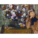 Reprodukcje obrazów A Woman Seated beside a Vase of Flowers - Edgar Degas
