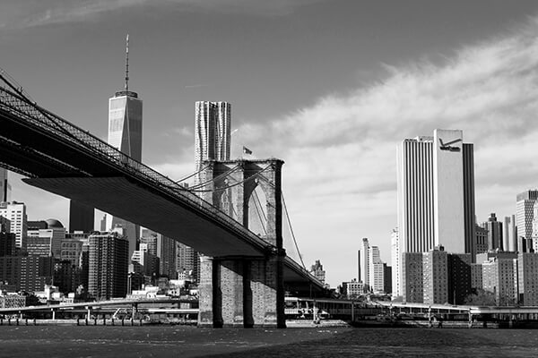 Obraz na płótnie fotoobraz new york black&white brooklyn bridge
