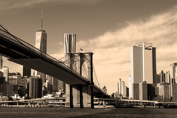 Obraz na płótnie fotoobraz new york sepia brooklyn bridge