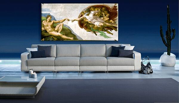 reprodukcje obrazów stworzenie adama michał anioł